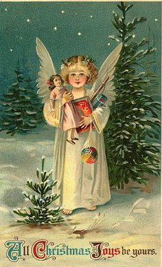 Shop Vintage Christmas Postcard created by xmasstore. Personalize it with photos & text or purchase as is! Christmas Scenes, Christmas Past, Christmas Gift Tags, Christmas Angels, Christmas Greetings, Vintage Christmas Images, Victorian Christmas, Vintage Holiday, Vintage Images