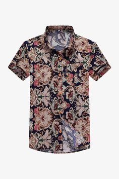 Vintage Style Printed Short Sleeve Shirt. Free 3-7 days expedited shipping to U.S. Free first class word wide shipping. Customer service: help@moooh.net