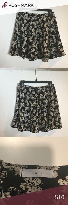Lush Floral Skater Skirt Like new condition. Black and cream Lush skater skirt. Women's size Small. Lush Skirts Circle & Skater