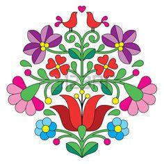 hongrois: Kalocsai broderie - motif floral folklorique hongroise avec des oiseaux
