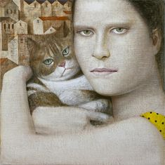 Vladimir Dunjić is an Serbian painter, known for working in the Abstract/Figurative style. For biographical notes and earlier works by Vladimir Dunjić see part She And Her Cat, Nine Cat, Son Chat, Magic Realism, Art For Art Sake, Cat Drawing, Cat Life, Crazy Cats, Figurative Art