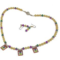 En venta Jade collar, esmalte encantos, Jade Amarillo, Jade... (120 ILS) ❤ liked on Polyvore featuring jewelry