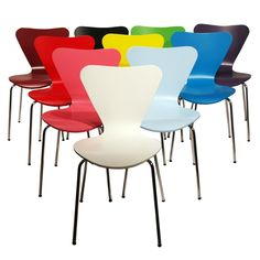 Mixed Set of 2 Arne Jacobsen Series 7 Stacking Chairs (you select colours)   eBay
