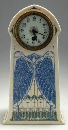 Pateelbakkerij De Distel, Amsterdam. Table clock, circa 1904. ceramic case, H. 35.4 cm; 18.5 x 10.7 cm. Designed by Bert Nienhuis (attributed).   |  SOLD 1,300 EUR, 2011