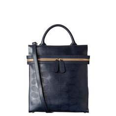 Orla Kiely: Soft leather unlined backpack bag with punched Sixties Stem detail to front. Zip to close. Gold colored hardware. Adjustable, detachable long leather strap (max 56.8in) in addition to top handle so that the bag can be worn across the body as well as a backpack. Inside details include leather zip pocket and elastic key chain. Gold colored coating on inside of bag.