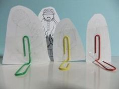 Paper Clip Stands - Great way to rotate displaying  individual pictures, to bring art work to life, display items in dioramas and to use for standing up items for School Projects! - by harriet
