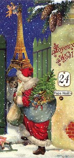 Santa and the Eiffel Tower Christmas card from Germany