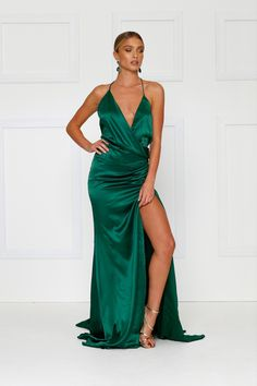 Satin Gown, Wrap Dress, Backless, Bridesmaid Dresses, Gowns, Formal Dresses, Sexy, Emerald, Collections