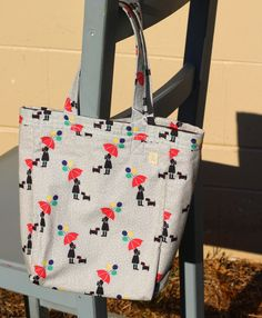 Small tote 100% Cotton with girl and Scottie dog pattern. by PuppyPawzBoutique on Etsy