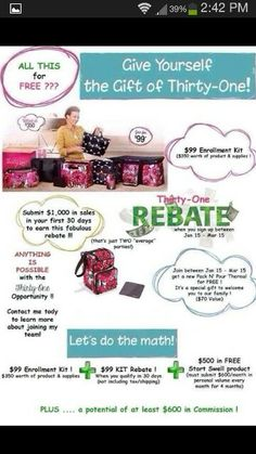 Join Thirty One for free! Contact me for details at www.mythirtyone.com/shopnsave I will coach you all the way to success!!!