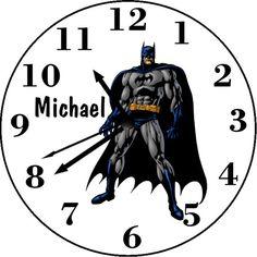 Batman Inspired Personalized  Wall Clock Personalized Clocks, Darth Vader, Batman, Superhero, Inspired, Wall, Fictional Characters, Inspiration, Design