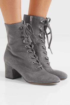 Gianvito Rossi - Lace-up Suede Boots - Gray - IT34.5