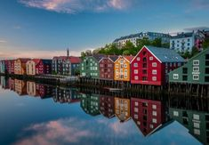 Old historic buildings along the river Nidelva in Trondheim