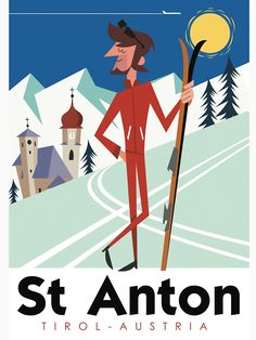 'St Anton retro ski poster' T-Shirt by Gary Godel Relationship Comics, Relationship Pictures, Vintage Ski Posters, Retro Posters, St Anton, Mood Pics, How To Do Yoga, Beach Trip, Tshirt Colors