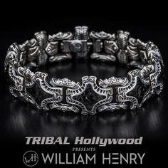 William Henry Carbon Fiber Shield Mens Silver Bracelet