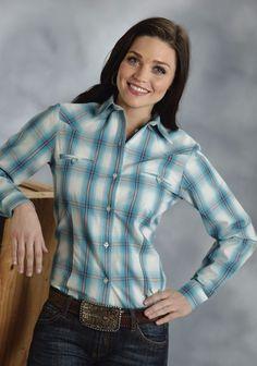 Roper® Women's Turquoise Baseball Plaid Long Sleeve Button Western Shirt