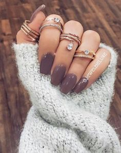 Love these dark purple with a grey tone to them Winter Nails -Easy, Beautiful and Simple Colors and Ideas From 2016 and For 2017.  Everything From Acrylic and Gel, To Matte, Coffin, Short, and Shellac Nails.  Design and Ideas For Holiday Nails, Fall Nails, specific for Winter, November, December, Christmas, and January.  Ideas For Blue Nails, Purple Nails, White, French, and Neutral Nails.