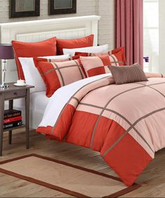 Another great find on #zulily! Taupe & Red Regency Comforter Set #zulilyfinds