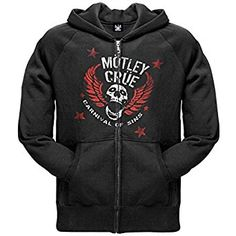 Motley Crue - Mens Sin Skull Zip Hoodie #MotleyCrue Mens Skull Zip Hoodie Available Via AMAZON:        http://amzn.to/1IUjHk3        #rock #rockandrol Kick-ass hoodie from Mötley Crüe! This black heavy cotton zip hoodie features a red and white stencil design that has the band name and