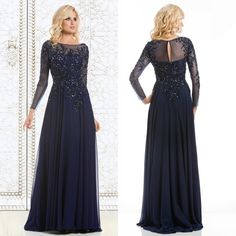 Wholesale Mother Dress - Buy 2015 Top Selling Elegant Mother of The Bride Dresses Navy Blue Chiffon See-Through Long Sleeve Sheer Neck Appliques Sequins Evening Dress, $118.94 | DHgate