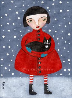 Bringing Home Kitty Original Cat Folk Art by KilkennycatArt