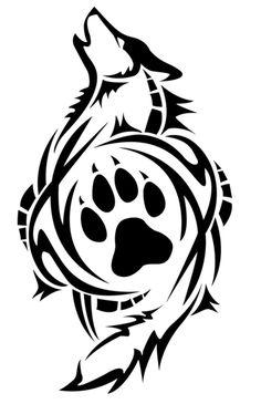 tribal wolf tattoo hier ist ein schwarter heulender wolf und seine pfote