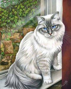 Irina Garmashova-Cawton - Artiste Peintre Animalier - Spécialiste des Peintures et Portraits Félins - Couleurs - Chat à la fenêtre et lierre