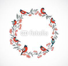 couronne de noel avec oiseaux