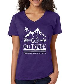 Love this Purple 'Go Outside' V-Neck Tee on #zulily! #zulilyfinds