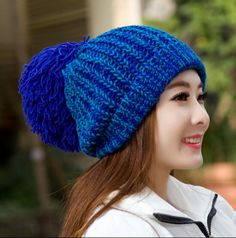 Large hairball knit hat for women fashion warm beanie winter hats