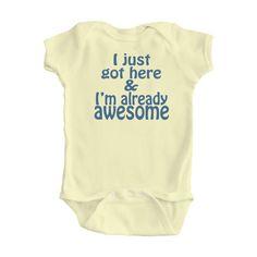 FREE SHIPPINGI'm already awesome Baby Bodysuit Size by apericots