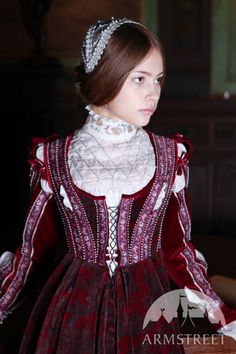 Renaissance Dress with Embroidery and lacing