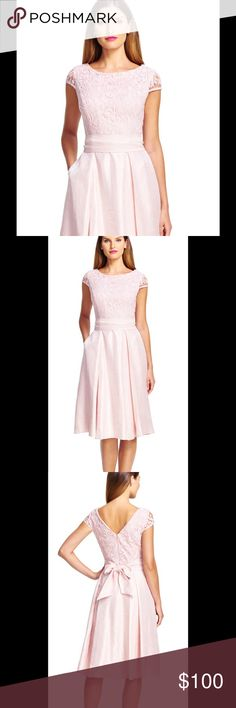 """Adrianna Papell Cap Sleeve Blush Shimmer Dress 10 Beautiful Adrianna Papell cap sleeve fit and flare dress NWT size 10. Lace bodice. Slight shimmer to skirt. High boat neck neckline with v back. Ties around waist. Approximately 44-45"""" long. Zipper and clasp closure. AP sizing for size 10: bust 37.5"""" waist 29.5"""" hips 39.5"""" Adrianna Papell Dresses"""