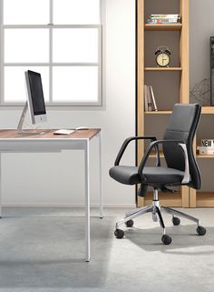 Very office chic, the Conductor Office Chair makes the day go faster. Plush leatherette on a rolling steel frame, the back is perfectly angled for comfort. Comes in high or low.
