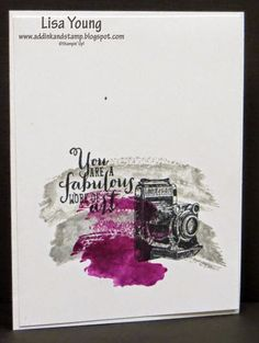 Add Ink and Stamp: Work of Art makes watercoloring easy: Traveler stamp set: Smokey Slate & Blackberry Bliss inks: