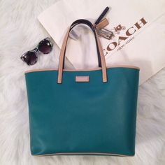 Green Coach Bag • Tote Awesome HUGE jade green leather tote from Coach! Perfect weekend bag or beach tote. Perfect size for a weekend carry on! Make everyone green with envy as you strut your stuff!   100% authentic  Never used • NWT Coach Bags Shoulder Bags