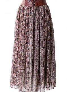 Brown Tribal Print Chiffon Maxi Skirt with Tie Waist,  Skirt, maxi skirt  chiffon, Bohemian (Boho) / Hippie