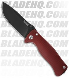 "Lion Steel SR2 Red Aluminum Folding Knife (3.125"" Black Plain)"