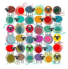 Bright Sheep and Yarn Pattern Art Print by Popmarleo