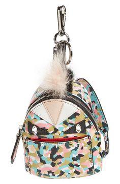 Fendi Fendi 'Granite' Genuine Fox & Nutria Fur Trim Backpack Bag Charm available at #Nordstrom