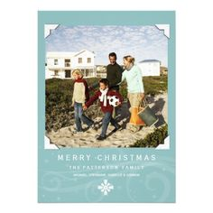 Classic Christmas Greeting Photo Card Teal | White  Click on photo to purchase. Check out all current coupon offers and save! http://www.zazzle.com/coupons?rf=238785193994622463&tc=pin #cards #holidays #christmas  #christmascards #photos #photocards #believe #greetings #holidaycards  #xmas #xmascards #greetingcards #personalized #customized #classic #blue