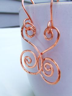 Hammered Earrings Copper Earrings Spiral Earrings Metal Earrings Wire Wrapped Earrings Jewelry