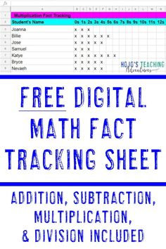 Want to get more organized This FREE digital math fact tracker sheet is great for or grade elementary teachers who are focusing on mastery Simply grab. 4th Grade Classroom, 4th Grade Math, Third Grade, Math Class, Sixth Grade, Future Classroom, Middle School Teachers, Elementary Teacher, Busy Teachers