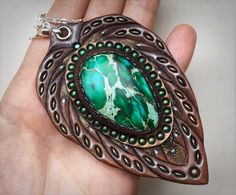 Tooled leather pendant - Tribal pendant with variscite (sea sediment jasper) cabochon & sterling silver chain