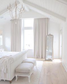 Neutral bedroom. Vaulted ceilings @jshomedesign