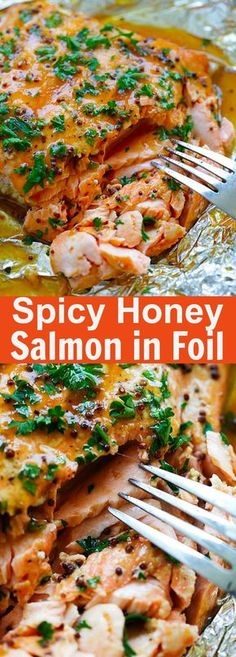Spicy Honey Salmon – Foil baked salmon with honey, dijon mustard and Asian chili-garlic sauce. Moist, juicy and delicious recipe for busy weeknights | rasamalaysia.com