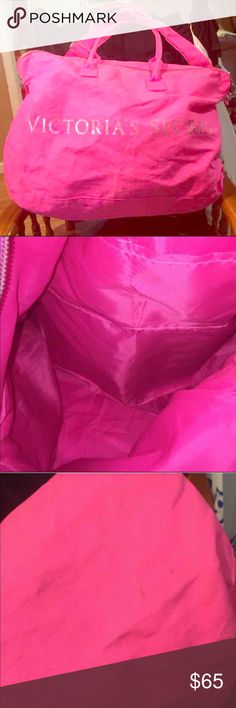"Victoria's Secret PINK XL Overnight Tote Bag Huge! VS Tote / Overnight bag. Measures 24"" X 14"" X 8"" and come with a removable shoulder strap. Perfect for Spring Break and Summer travel! Does have some scuffs on it (see pics, I have not tried to get them off). PINK Victoria's Secret Bags Travel Bags"