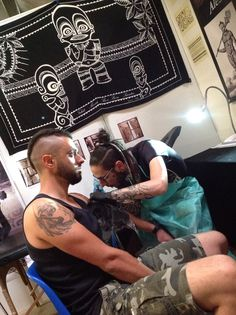"My Dear friend Alessio Fauci at work at ""La Spezia Tattoo Expo 2015"""