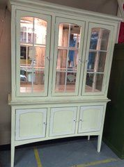 Cottage Crystal Hutch http://thepaintedfurniturecompany.com/ The painted furniture company  #shabbychic #thepaintedfurnitureco #paintedfurnitureco #Paintedfurnitureboulder #shabbychicfurniture #Upcycledfurniture #upcycleboulder #sustainabledesign #reuserecycle #distressedfurniture #paintedfurniture