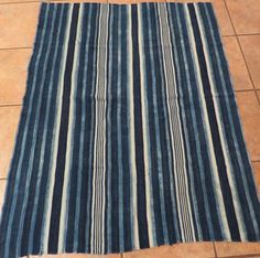 "Vintage Dogon,Mali Indigo Dyed Striped Fabric/Hand Woven Cotton Strips/40""x50"""